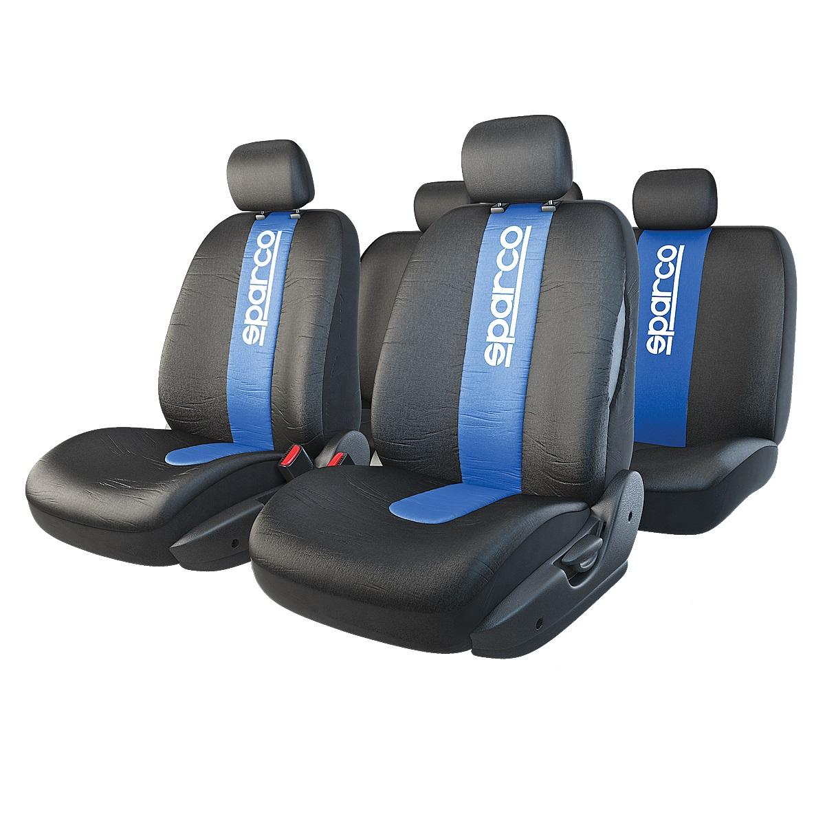 Чехол на сиденье SparcoЧехлы на сиденья<br>Тип: чехол,<br>Материал: полиэстер,<br>Цвет: черный/синий<br>