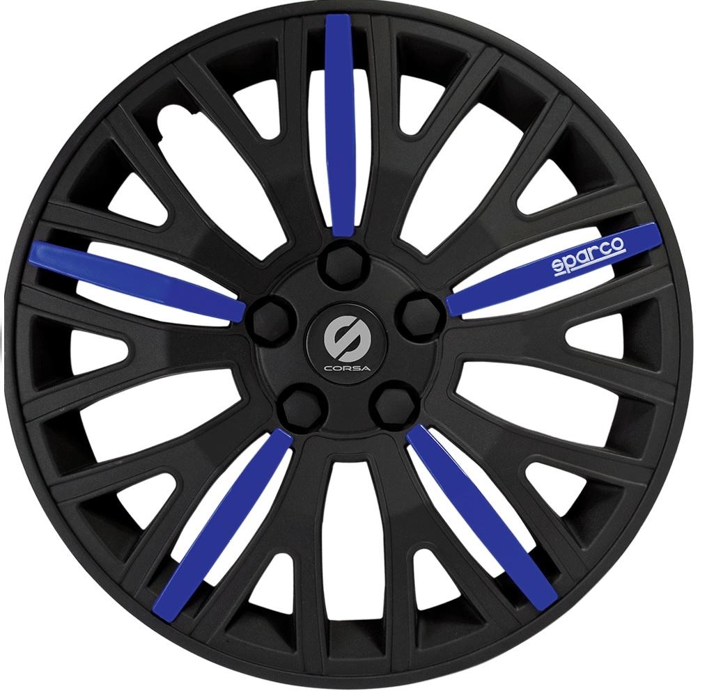 Колпаки на колёса SparcoКолпаки на колёса<br>Диаметр колес: 13, Размер колес: 325, Цвет: черный/синий<br>