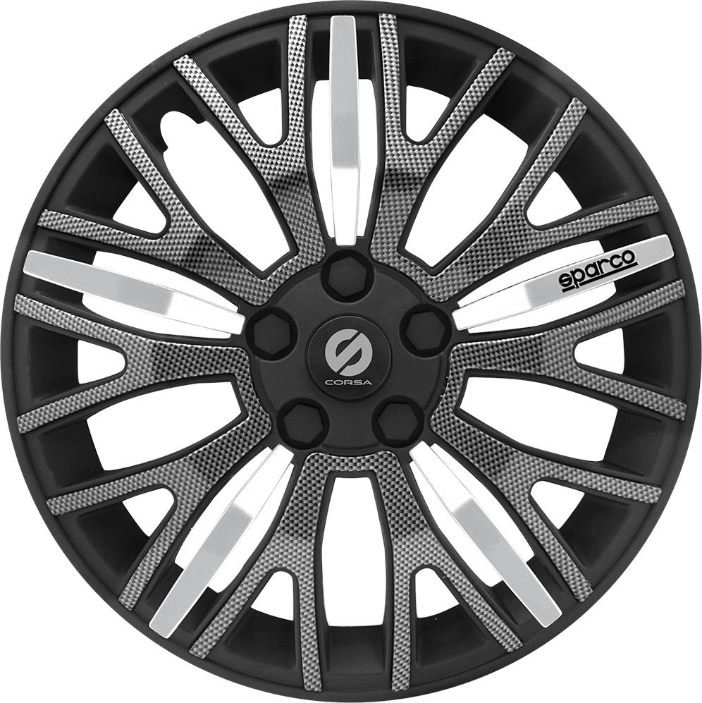 Колпаки на колёса SparcoКолпаки на колёса<br>Диаметр колес: 13,<br>Размер колес: 325,<br>Цвет: черный/карбон<br>