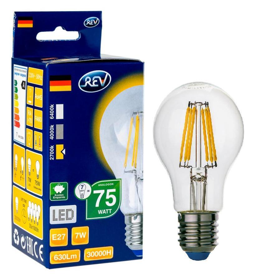 Лампа светодиодная Rev ritterЛампы<br>Тип лампы: светодиодная,<br>Форма лампы: груша,<br>Цвет колбы: белая,<br>Тип цоколя: Е27,<br>Напряжение: 220,<br>Мощность: 6,<br>Цветовая температура: 2700,<br>Цвет свечения: теплый,<br>Гарантия: 24<br>