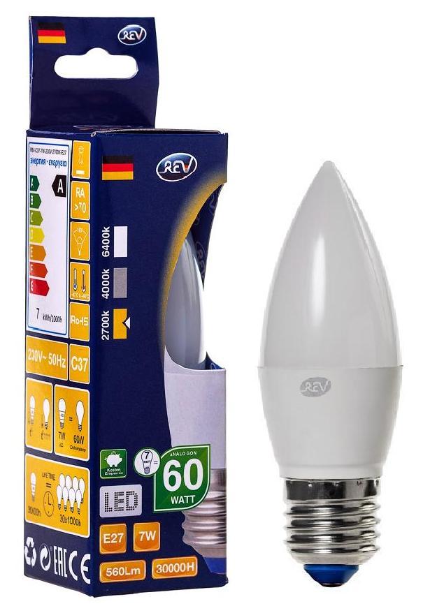 Лампа светодиодная Rev ritterЛампы<br>Тип лампы: светодиодная, Форма лампы: груша, Цвет колбы: белая, Тип цоколя: Е27, Напряжение: 220, Мощность: 7, Цветовая температура: 2700, Цвет свечения: теплый, Гарантия: 24<br>