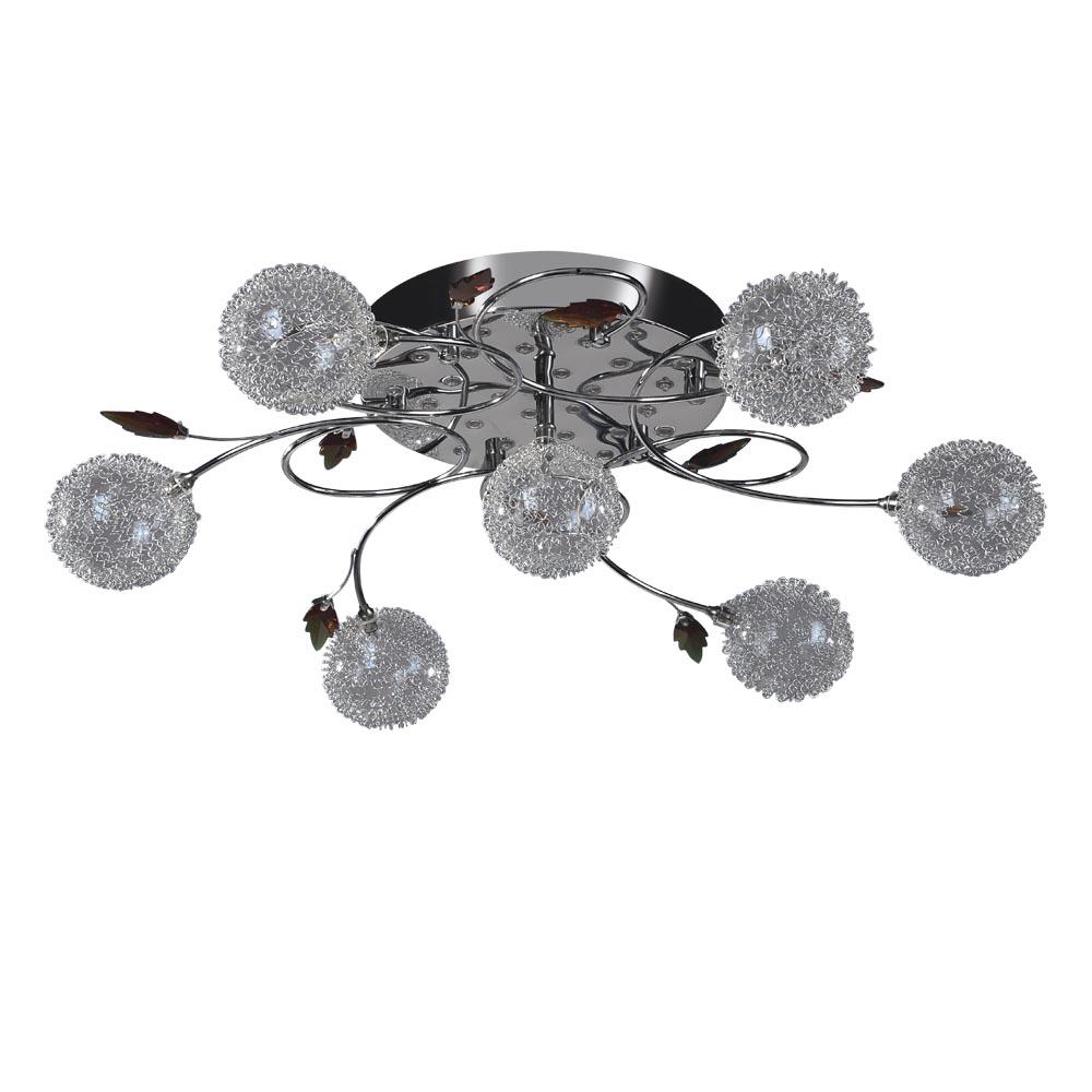 Люстра МАКСИСВЕТ - МАКСИСВЕТЛюстры<br>Назначение светильника: для гостиной,<br>Стиль светильника: современный,<br>Тип: потолочная,<br>Диаметр: 620,<br>Высота: 150,<br>Количество ламп: 7,<br>Тип лампы: светодиодная,<br>Мощность: 20,<br>Патрон: G4,<br>Цвет арматуры: хром<br>