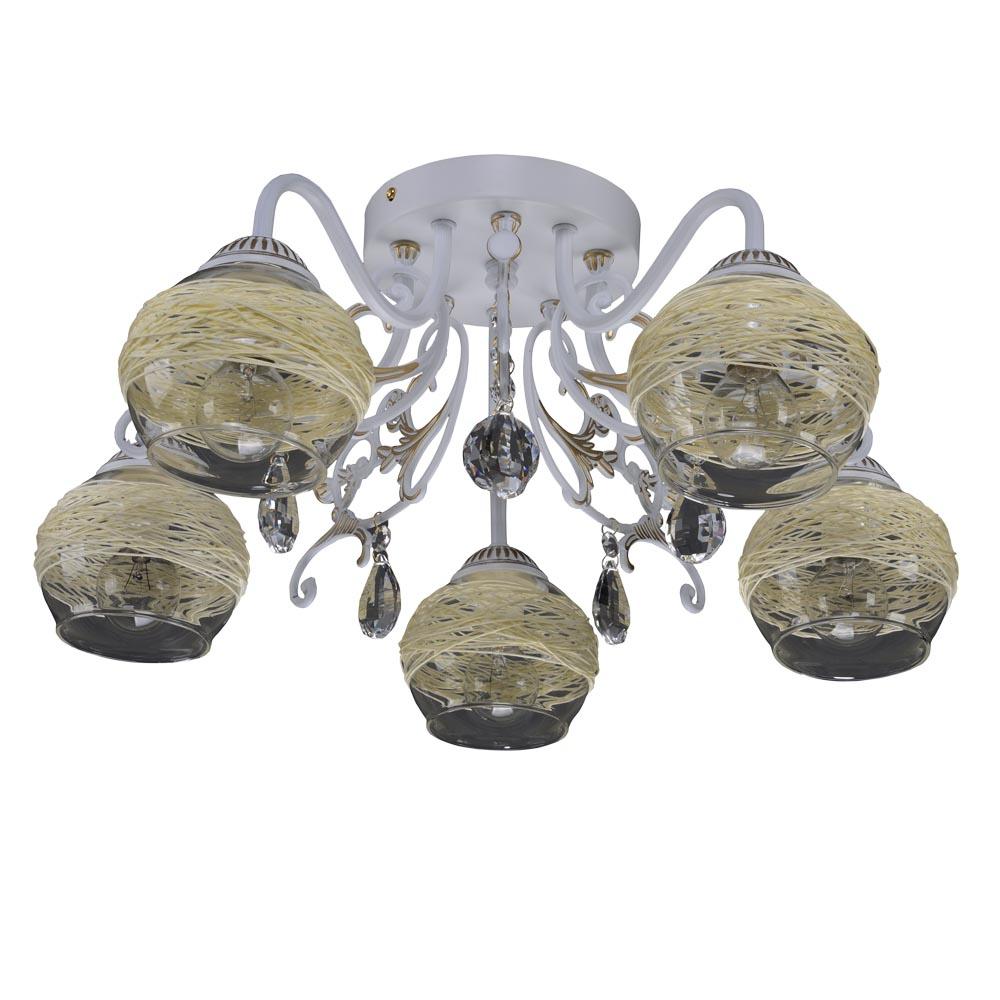 Люстра МАКСИСВЕТЛюстры<br>Назначение светильника: для гостиной,<br>Стиль светильника: арт деко,<br>Тип: потолочная,<br>Материал плафона: стекло,<br>Материал арматуры: металл,<br>Количество ламп: 5,<br>Тип лампы: накаливания,<br>Мощность: 40,<br>Патрон: Е14,<br>Цвет арматуры: белый<br>