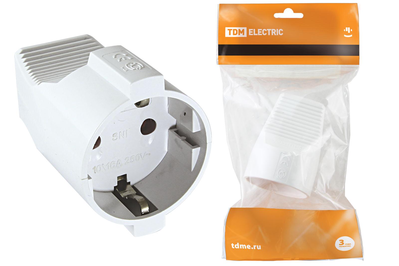 Розетка кабельная ТДМАксессуары для электромонтажа<br>Тип аксессуара: розетка, Степень защиты от пыли и влаги: IP 20, Сила тока: 16, Заземление: есть, Цвет: белый, Напряжение: 220<br>