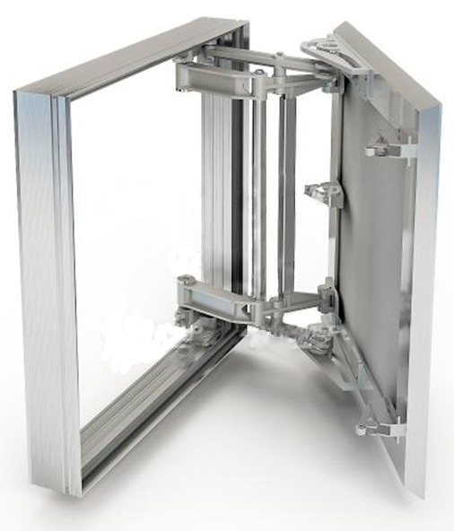 Люк ХАММЕРРевизионные и сантехнические люки<br>Тип покрытия: под плитку,<br>Ширина: 500,<br>Высота: 500,<br>Материал: алюминий,<br>Метод открывания: распашная дверца,<br>Схема открывания: распашная дверца,<br>Материал петли: сталь,<br>Количество створок: одностворчатый<br>