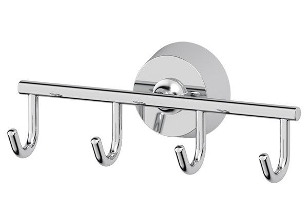Крючок FbsАксессуары для ванной комнаты<br>Назначение аксессуара: крючок, Цвет покрытия: хром, Материал: металл, Высота: 56, Ширина: 150, Глубина: 55, Способ крепления: на стену<br>