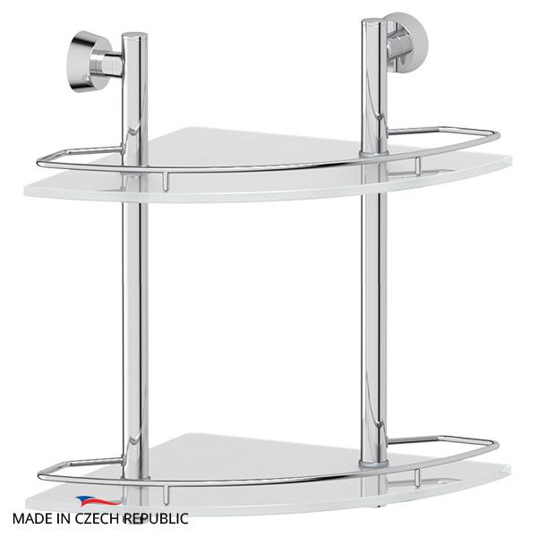 Полка FbsПолки для ванной<br>Материал: металл, Количество ярусов: 2, Угловая: есть, Цвет покрытия: хром, Высота: 378, Ширина: 276, Глубина: 276, Способ крепления: на стену<br>