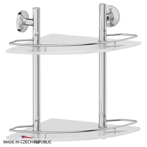 Полка FbsПолки для ванной<br>Материал: металл, Количество ярусов: 2, Угловая: есть, Цвет покрытия: хром, Высота: 378, Ширина: 277, Глубина: 277, Способ крепления: на стену<br>