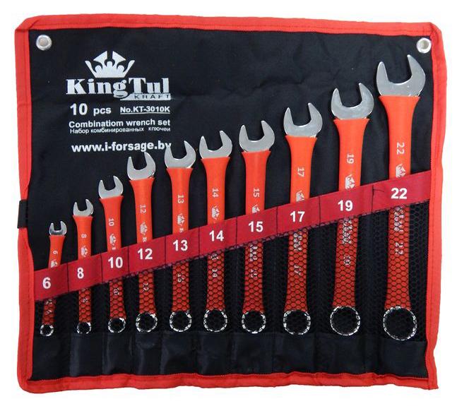 Набор ключей KingtulКлючи гаечные<br>Тип: комбинированный,<br>Размер ключа минимальный: 6,<br>Размер ключа максимальный: 22,<br>Набор: есть,<br>Ключей в наборе: 10<br>