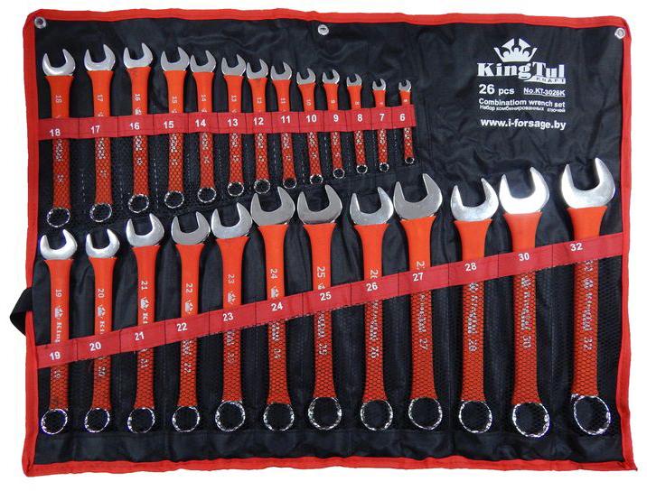 Набор ключей KingtulКлючи гаечные<br>Тип: комбинированный,<br>Размер ключа минимальный: 6,<br>Размер ключа максимальный: 32,<br>Набор: есть,<br>Ключей в наборе: 26<br>