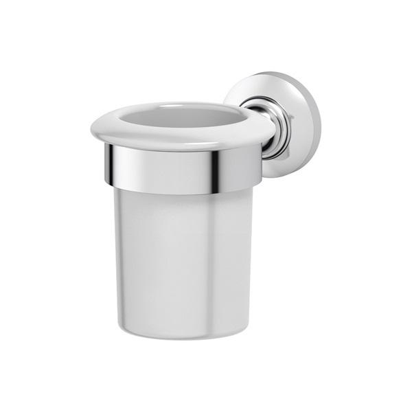 Стакан 3scАксессуары для ванной комнаты<br>Назначение аксессуара: стакан,<br>Цвет покрытия: хром,<br>Материал: металл,<br>Высота: 104,<br>Глубина: 136,<br>Способ крепления: на стену<br>