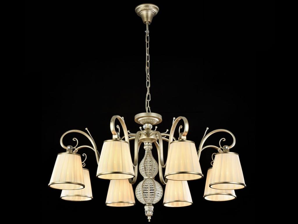 Люстра MaytoniЛюстры<br>Назначение светильника: для гостиной,<br>Стиль светильника: классика,<br>Тип: подвесная,<br>Материал светильника: металл, ткань,<br>Материал плафона: ткань,<br>Материал арматуры: металл,<br>Диаметр: 820,<br>Высота: 490,<br>Количество ламп: 8,<br>Тип лампы: накаливания,<br>Мощность: 40,<br>Патрон: Е14,<br>Цвет арматуры: золото,<br>Коллекция: arm002<br>