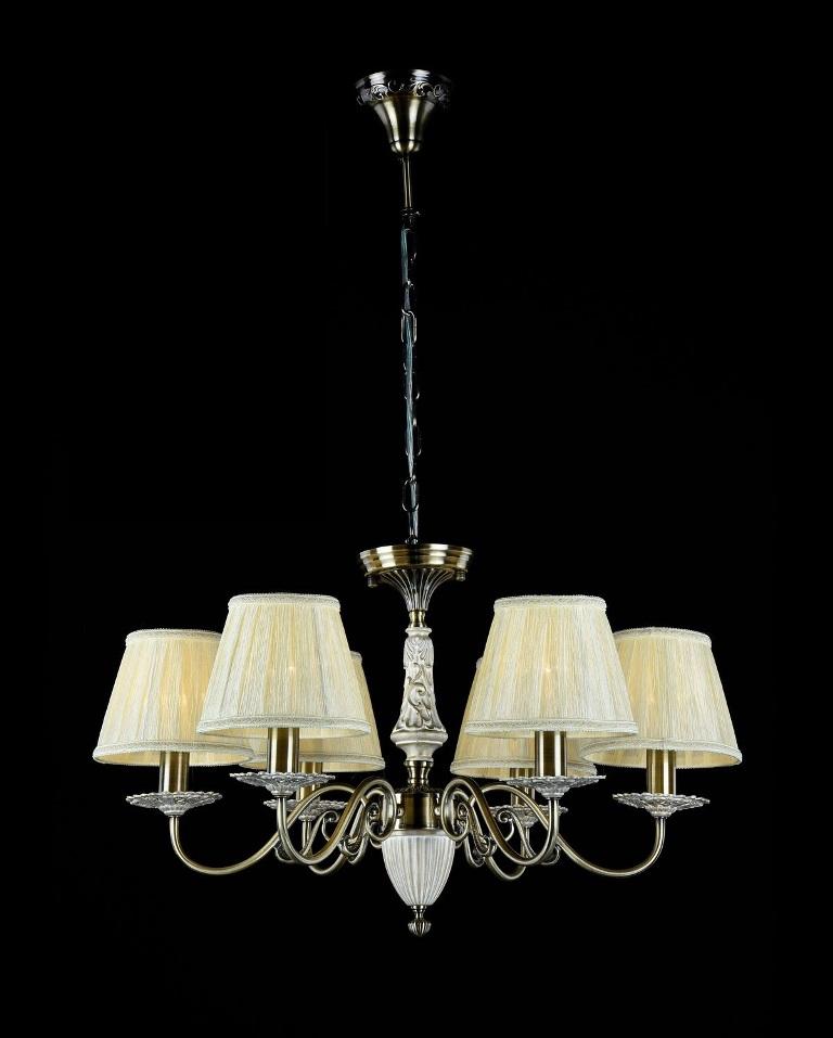 Люстра MaytoniЛюстры<br>Назначение светильника: для гостиной, Стиль светильника: классика, Тип: подвесная, Материал светильника: металл, ткань, Материал плафона: ткань, Материал арматуры: металл, Диаметр: 660, Высота: 410, Количество ламп: 6, Тип лампы: накаливания, Мощность: 40, Патрон: Е14, Цвет арматуры: бронза, Родина бренда: Германия, Коллекция: arm011<br>