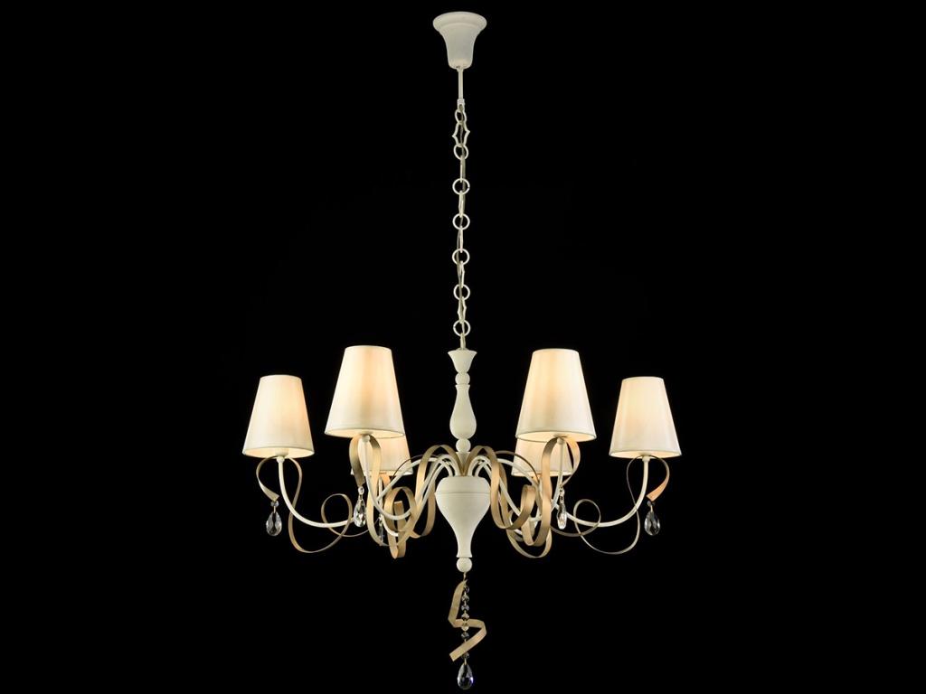 Люстра MaytoniЛюстры<br>Назначение светильника: для гостиной,<br>Стиль светильника: классика,<br>Тип: подвесная,<br>Материал светильника: металл, стекло, ткань,<br>Материал плафона: ткань,<br>Материал арматуры: металл,<br>Диаметр: 870,<br>Высота: 650,<br>Количество ламп: 6,<br>Тип лампы: накаливания,<br>Мощность: 40,<br>Патрон: Е14,<br>Цвет арматуры: белый<br>