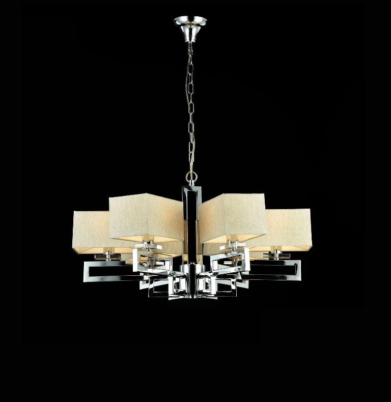 Люстра MaytoniЛюстры<br>Назначение светильника: для гостиной, Стиль светильника: классика, Тип: подвесная, Материал светильника: металл, ткань, Материал плафона: ткань, Материал арматуры: металл, Диаметр: 700, Высота: 380, Количество ламп: 1, Тип лампы: накаливания, Мощность: 40, Патрон: Е14, Цвет арматуры: никель, Родина бренда: Германия, Коллекция: mod906<br>