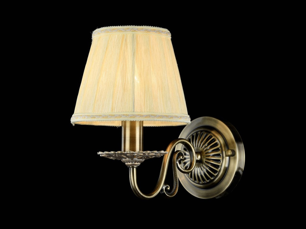 Бра MaytoniНастенные светильники и бра<br>Тип: бра,<br>Назначение светильника: для комнаты,<br>Стиль светильника: классика,<br>Материал светильника: металл, ткань,<br>Тип лампы: накаливания,<br>Количество ламп: 1,<br>Мощность: 40,<br>Патрон: Е14,<br>Цвет арматуры: бронза,<br>Высота: 230,<br>Диаметр: 160<br>