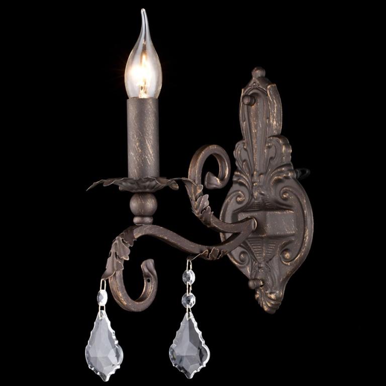 Бра MaytoniНастенные светильники и бра<br>Тип: бра, Назначение светильника: для комнаты, Стиль светильника: классика, Материал светильника: металл, стекло, Тип лампы: накаливания, Количество ламп: 1, Мощность: 60, Патрон: Е14, Цвет арматуры: темно-коричневый, Высота: 350, Диаметр: 250, Коллекция: h105<br>