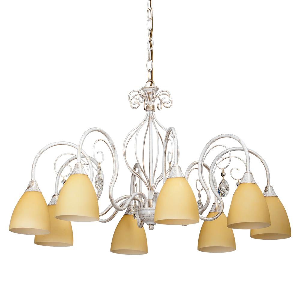 Люстра VitaluceЛюстры<br>Назначение светильника: для комнаты,<br>Стиль светильника: классика,<br>Тип: подвесная,<br>Материал светильника: металл, стекло,<br>Материал плафона: стекло,<br>Материал арматуры: металл,<br>Диаметр: 730,<br>Высота: 670,<br>Количество ламп: 8,<br>Тип лампы: накаливания,<br>Мощность: 60,<br>Патрон: Е14,<br>Цвет арматуры: белый<br>