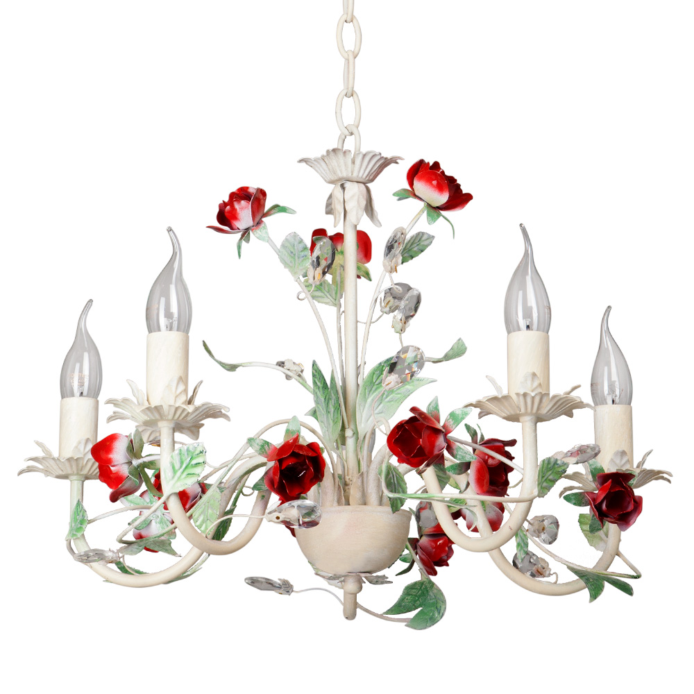 Люстра VitaluceЛюстры<br>Назначение светильника: для комнаты,<br>Стиль светильника: флористика,<br>Тип: подвесная,<br>Материал светильника: металл, стекло, хрусталь,<br>Материал плафона: стекло,<br>Материал арматуры: металл,<br>Диаметр: 530,<br>Высота: 600,<br>Количество ламп: 5,<br>Тип лампы: накаливания,<br>Мощность: 60,<br>Патрон: Е14,<br>Цвет арматуры: белый<br>