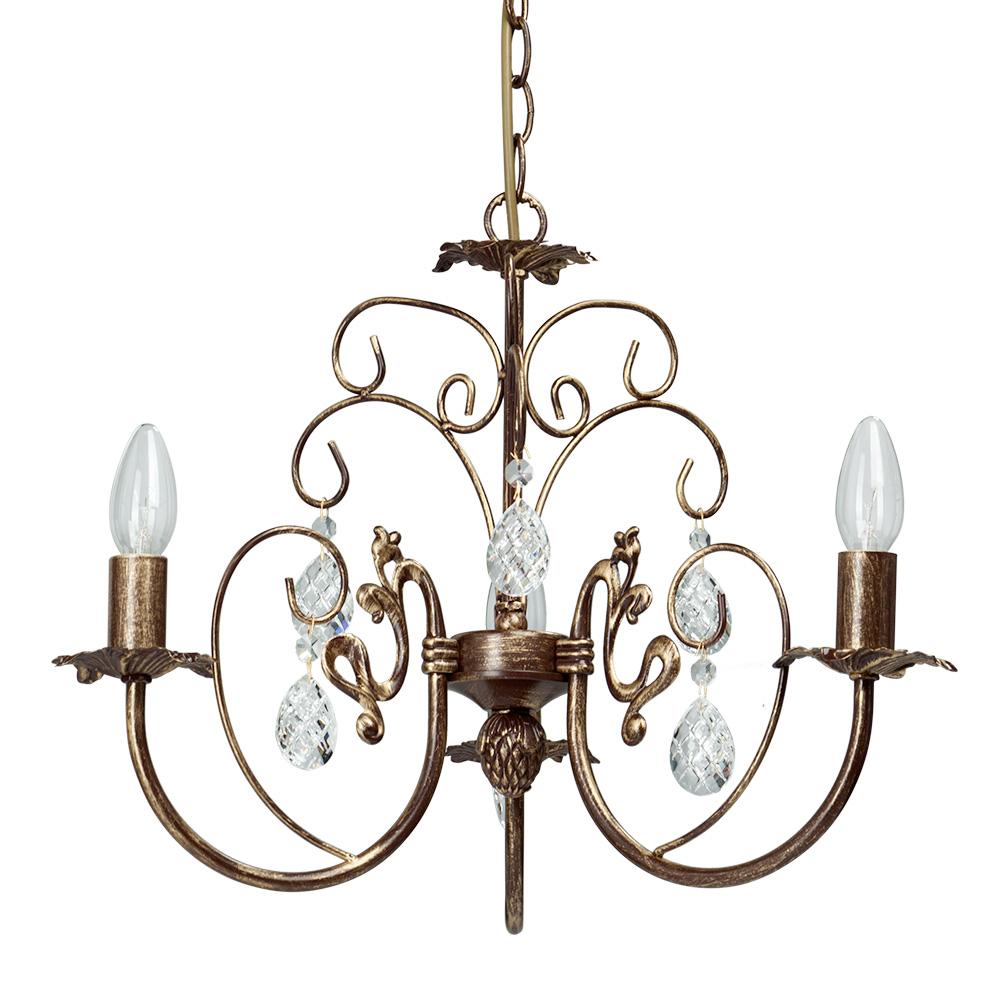 Люстра VitaluceЛюстры<br>Назначение светильника: для комнаты, Стиль светильника: классика, Тип: подвесная, Материал светильника: металл, стекло, хрусталь, Материал плафона: стекло, Материал арматуры: металл, Диаметр: 450, Высота: 630, Количество ламп: 3, Тип лампы: накаливания, Мощность: 60, Патрон: Е14, Цвет арматуры: бронза, Родина бренда: Италия<br>