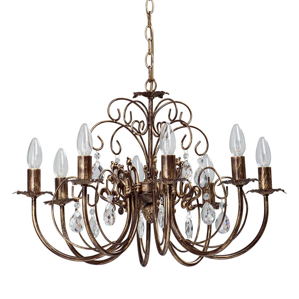 Люстра VitaluceЛюстры<br>Назначение светильника: для комнаты,<br>Стиль светильника: классика,<br>Тип: подвесная,<br>Материал светильника: металл, стекло, хрусталь,<br>Материал плафона: стекло,<br>Материал арматуры: металл,<br>Диаметр: 650,<br>Высота: 730,<br>Количество ламп: 8,<br>Тип лампы: накаливания,<br>Мощность: 60,<br>Патрон: Е14,<br>Цвет арматуры: бронза<br>