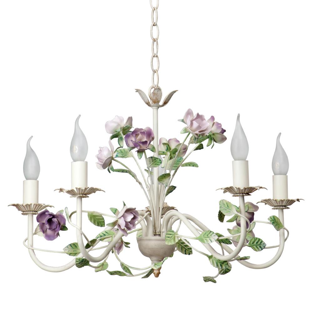 Люстра VitaluceЛюстры<br>Назначение светильника: для гостиной,<br>Стиль светильника: флористика,<br>Тип: подвесная,<br>Материал светильника: металл,<br>Материал арматуры: металл,<br>Диаметр: 600,<br>Высота: 620,<br>Количество ламп: 5,<br>Тип лампы: накаливания,<br>Мощность: 60,<br>Патрон: Е14,<br>Пульт ДУ: нет,<br>Цвет арматуры: белый<br>