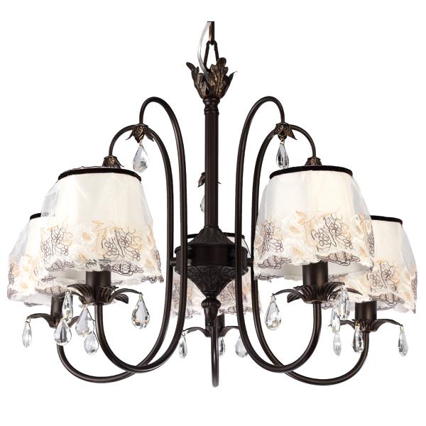 Люстра Natali kovaltsevaЛюстры<br>Назначение светильника: для гостиной,<br>Стиль светильника: классика,<br>Тип: подвесная,<br>Материал светильника: металл, ткань,<br>Материал плафона: ткань,<br>Материал арматуры: металл,<br>Диаметр: 600,<br>Высота: 440,<br>Количество ламп: 5,<br>Тип лампы: накаливания,<br>Мощность: 40,<br>Патрон: Е14,<br>Цвет арматуры: коричневый,<br>Коллекция: INTRIGUE<br>
