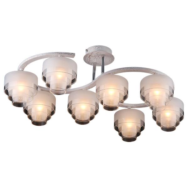 Люстра Natali kovaltsevaЛюстры<br>Назначение светильника: для гостиной,<br>Стиль светильника: классика,<br>Тип: потолочная,<br>Материал светильника: металл, стекло,<br>Материал плафона: стекло,<br>Материал арматуры: металл,<br>Диаметр: 70,<br>Высота: 270,<br>Количество ламп: 8,<br>Тип лампы: галогенная,<br>Мощность: 20,<br>Патрон: G9,<br>Цвет арматуры: белый<br>