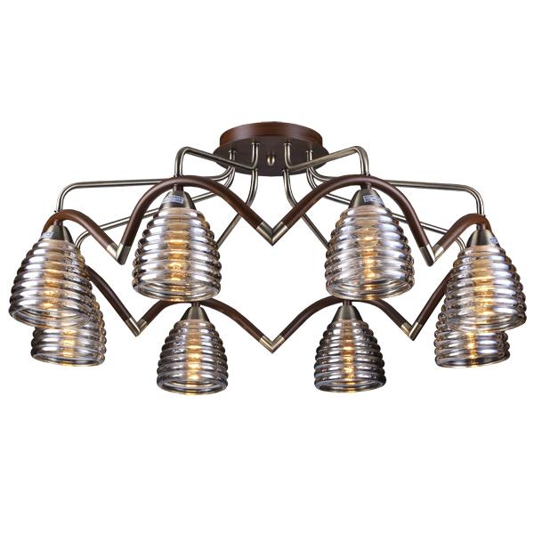 Люстра Natali kovaltsevaЛюстры<br>Назначение светильника: для гостиной,<br>Стиль светильника: модерн,<br>Тип: потолочная,<br>Материал светильника: металл, стекло,<br>Материал плафона: стекло,<br>Материал арматуры: металл,<br>Длина (мм): 700,<br>Ширина: 700,<br>Высота: 280,<br>Количество ламп: 8,<br>Тип лампы: накаливания,<br>Мощность: 60,<br>Патрон: Е14,<br>Цвет арматуры: бронза<br>