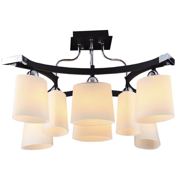 Люстра Natali kovaltsevaЛюстры<br>Назначение светильника: для гостиной,<br>Стиль светильника: модерн,<br>Тип: потолочная,<br>Материал светильника: металл, стекло,<br>Материал плафона: стекло,<br>Материал арматуры: металл,<br>Длина (мм): 540,<br>Ширина: 540,<br>Высота: 340,<br>Количество ламп: 8,<br>Тип лампы: накаливания,<br>Мощность: 60,<br>Патрон: Е14,<br>Цвет арматуры: хром<br>