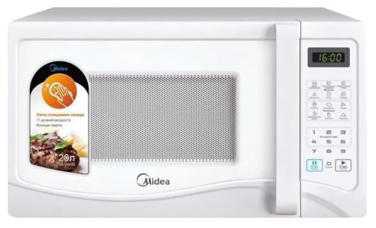 Микроволновая печь MideaМикроволновые печи<br>Мощность: 700,<br>Объем: 20,<br>Внутреннее покрытие: эмаль,<br>Расположение: отдельностоящая,<br>Размеры: 435х258х375,<br>Вес нетто: 10.4<br>
