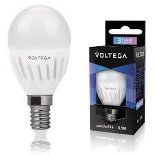 Лампа светодиодная VoltegaЛампы<br>Тип лампы: светодиодная, Форма лампы: шар, Цвет колбы: белая, Тип цоколя: Е14, Мощность: 6.5, Цветовая температура: 4000, Цвет свечения: нейтральный<br>
