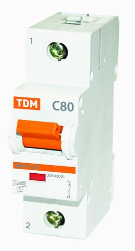 Автомат ТДМАвтоматические выключатели<br>Номинальный ток: 80,<br>Тип выключателя: автомат,<br>Номинальная отключающая способность: 15000,<br>Степень защиты от пыли и влаги: IP 20<br>