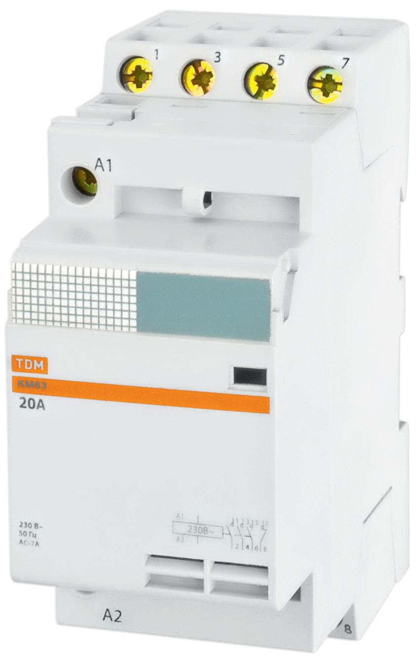 Контактор ТДМАвтоматические выключатели<br>Номинальный ток: 20,<br>Тип выключателя: контактор,<br>Количество полюсов: 4,<br>Степень защиты от пыли и влаги: IP 20<br>