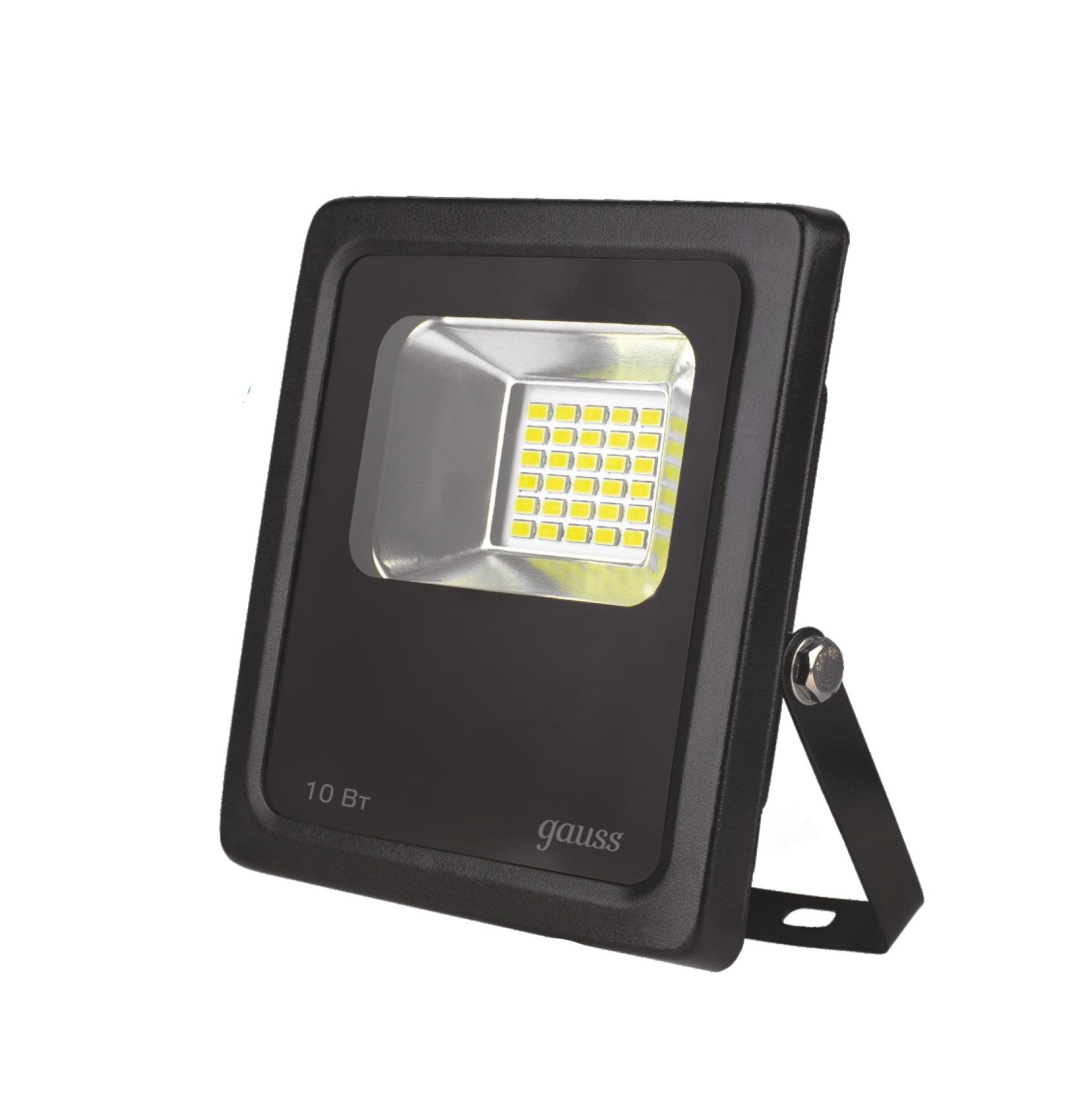 Прожектор GaussПрожекторы<br>Мощность: 10,<br>Ширина: 118,<br>Длина (мм): 40,<br>Высота: 141,<br>Тип лампы: светодиодная,<br>Патрон: LED,<br>Цвет арматуры: черный,<br>Степень защиты от пыли и влаги: IP 65,<br>Тип: стационарный,<br>Назначение прожектора: уличный,<br>Цветовая температура: 6500<br>