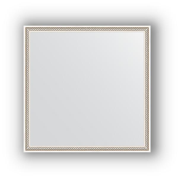 Зеркало EvoformЗеркала<br>Высота: 580, Ширина: 580, Форма зеркала: квадрат, Назначение: для ванной, прихожей, гостиной, Зеркало в багете: есть, Цвет рамы: витое серебро, Коллекция: DEFINITE<br>