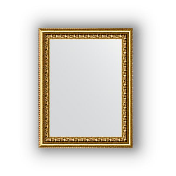 Зеркало EvoformЗеркала<br>Высота: 380,<br>Ширина: 480,<br>Форма зеркала: прямоугольник,<br>Назначение: для ванной, прихожей, гостиной,<br>Зеркало в багете: есть,<br>Цвет рамы: бусы золотые,<br>Коллекция: DEFINITE<br>