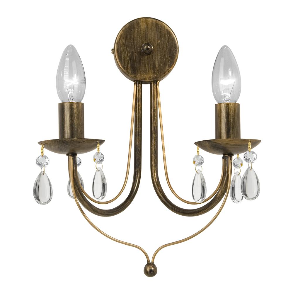 Бра VitaluceНастенные светильники и бра<br>Тип: бра,<br>Назначение светильника: для комнаты,<br>Стиль светильника: модерн,<br>Материал светильника: металл, стекло,<br>Тип лампы: накаливания,<br>Количество ламп: 2,<br>Мощность: 60Вт,<br>Патрон: Е14,<br>Цвет арматуры: коричневый,<br>Высота: 330,<br>Удаление от стены: 150,<br>Диаметр: 260<br>