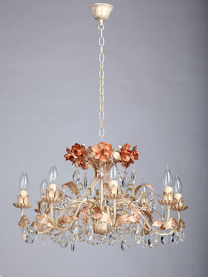 Люстра VitaluceЛюстры<br>Назначение светильника: для гостиной,<br>Стиль светильника: флористика,<br>Тип: подвесная,<br>Материал светильника: металл, стекло,<br>Материал арматуры: металл,<br>Диаметр: 660,<br>Высота: 980,<br>Количество ламп: 8,<br>Тип лампы: накаливания,<br>Мощность: 60,<br>Патрон: Е14,<br>Цвет арматуры: дерево<br>