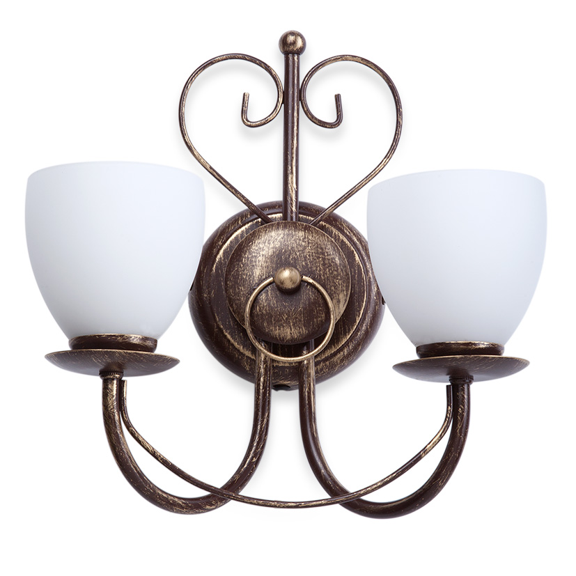 Бра VitaluceНастенные светильники и бра<br>Тип: бра,<br>Назначение светильника: для комнаты,<br>Тип лампы: накаливания,<br>Количество ламп: 2,<br>Мощность: 60Вт,<br>Патрон: Е14,<br>Высота: 340,<br>Удаление от стены: 180,<br>Диаметр: 300<br>