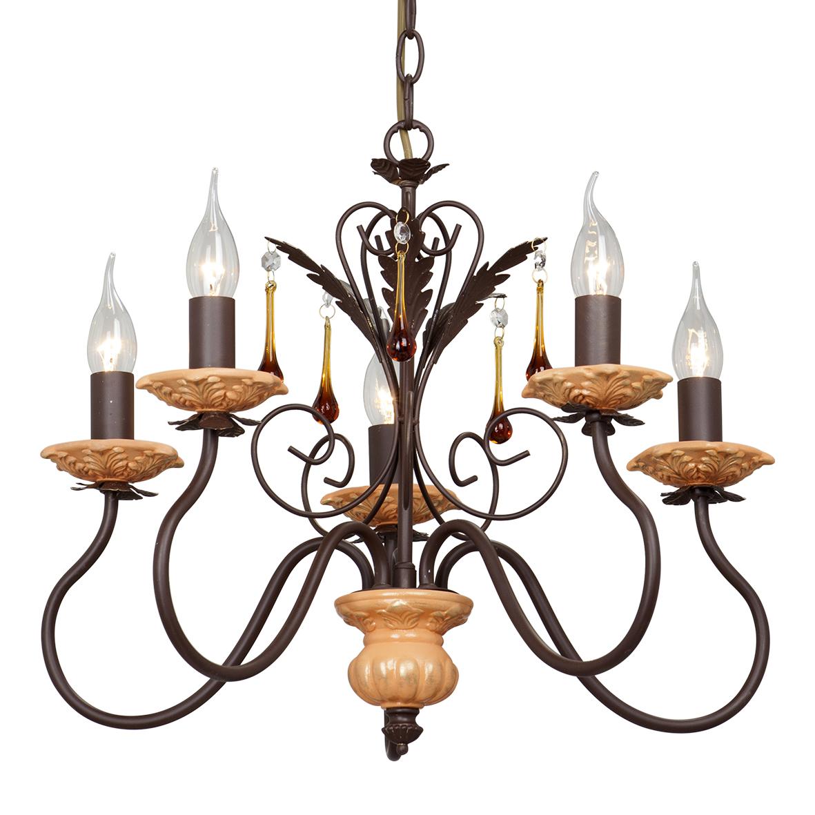 Люстра VitaluceЛюстры<br>Назначение светильника: для гостиной, Стиль светильника: модерн, Тип: подвесная, Материал светильника: металл, Материал арматуры: металл, Диаметр: 520, Высота: 650, Количество ламп: 5, Тип лампы: накаливания, Мощность: 60, Патрон: Е14, Цвет арматуры: дерево, Родина бренда: Италия<br>