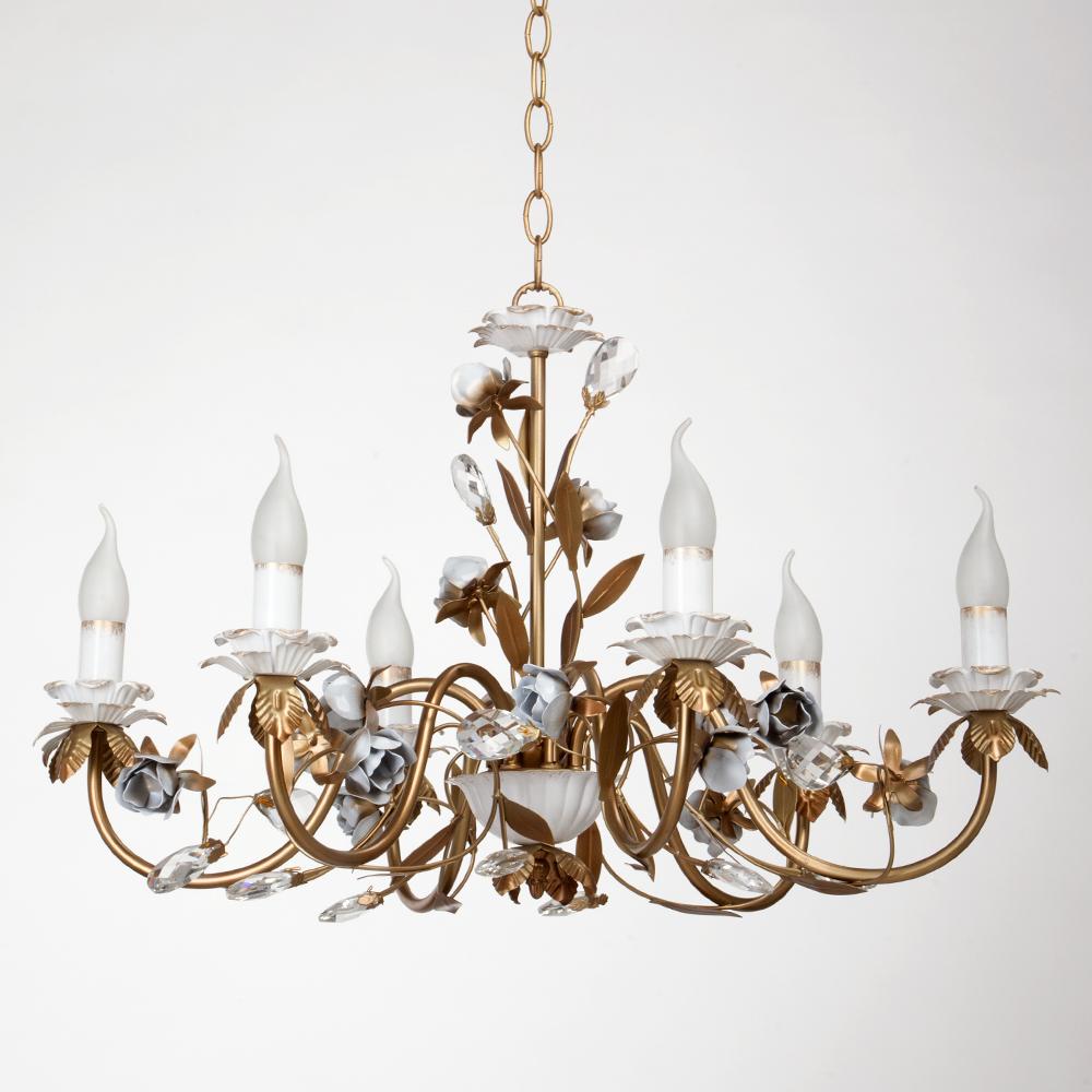 Люстра VitaluceЛюстры<br>Назначение светильника: для гостиной,<br>Стиль светильника: флористика,<br>Тип: подвесная,<br>Материал светильника: металл,<br>Материал арматуры: металл,<br>Диаметр: 700,<br>Высота: 650,<br>Количество ламп: 6,<br>Тип лампы: накаливания,<br>Мощность: 60,<br>Патрон: Е14,<br>Цвет арматуры: золото<br>