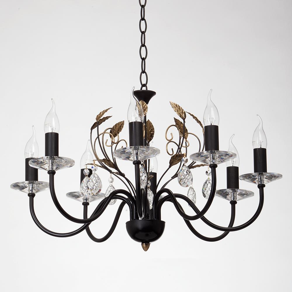Люстра VitaluceЛюстры<br>Назначение светильника: для гостиной,<br>Стиль светильника: модерн,<br>Тип: подвесная,<br>Материал светильника: металл, стекло,<br>Материал арматуры: металл,<br>Диаметр: 630,<br>Высота: 600,<br>Количество ламп: 8,<br>Тип лампы: накаливания,<br>Мощность: 60,<br>Патрон: Е14,<br>Цвет арматуры: черный<br>