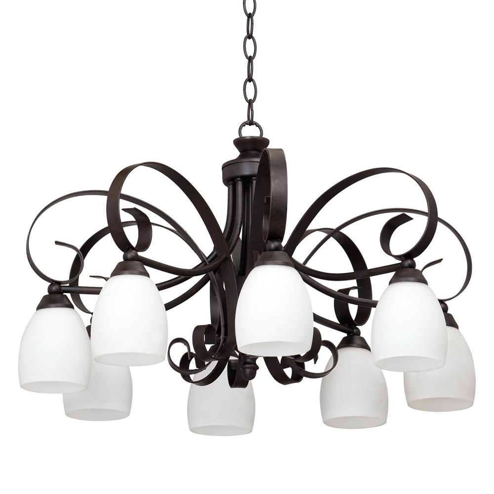 Люстра VitaluceЛюстры<br>Назначение светильника: для гостиной, Стиль светильника: модерн, Тип: подвесная, Материал светильника: металл, стекло, Материал плафона: стекло, Материал арматуры: металл, Количество ламп: 8, Тип лампы: накаливания, Мощность: 60, Патрон: Е14, Цвет арматуры: черный, Родина бренда: Италия<br>