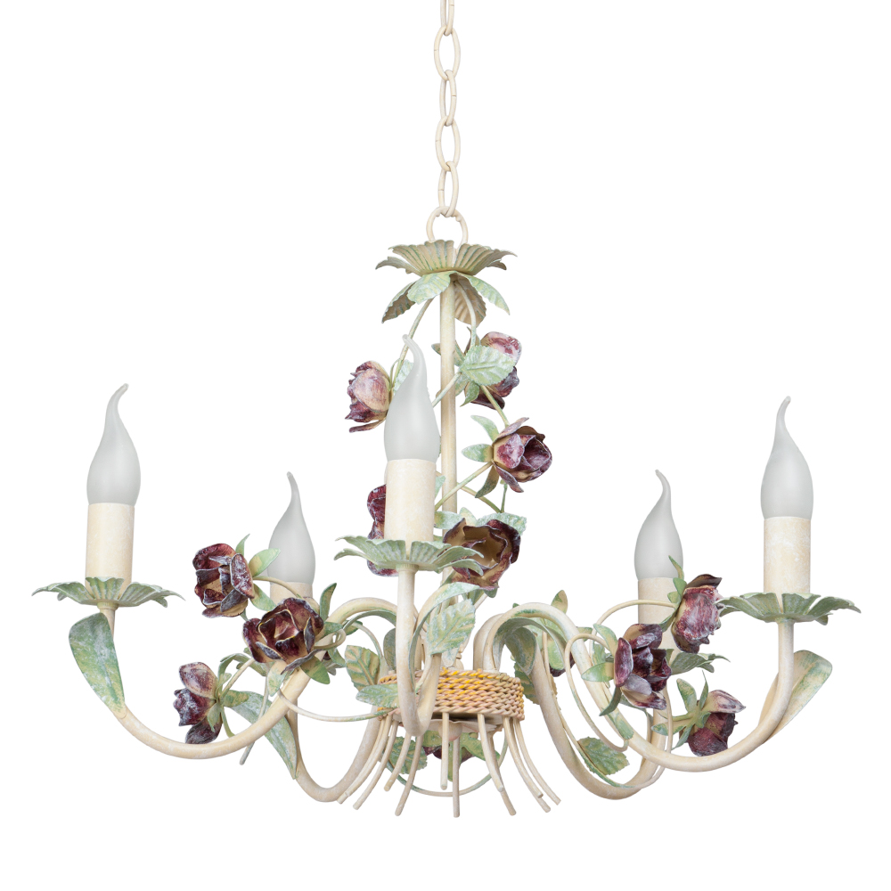 Люстра VitaluceЛюстры<br>Назначение светильника: для гостиной,<br>Стиль светильника: флористика,<br>Тип: подвесная,<br>Материал светильника: металл,<br>Материал арматуры: металл,<br>Диаметр: 550,<br>Высота: 620,<br>Количество ламп: 5,<br>Тип лампы: накаливания,<br>Мощность: 60,<br>Патрон: Е14,<br>Цвет арматуры: бежевый<br>