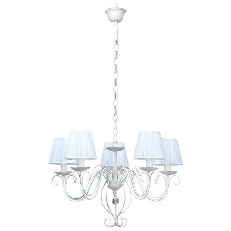 Люстра VitaluceЛюстры<br>Назначение светильника: для гостиной,<br>Стиль светильника: классика,<br>Тип: подвесная,<br>Материал светильника: металл, ткань, стекло,<br>Материал плафона: ткань,<br>Материал арматуры: металл,<br>Диаметр: 570,<br>Высота: 550,<br>Количество ламп: 5,<br>Тип лампы: накаливания,<br>Мощность: 60,<br>Патрон: Е14,<br>Цвет арматуры: белый<br>