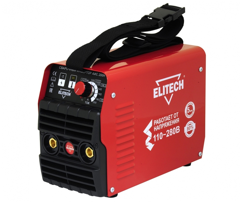 Сварочный аппарат ElitechСварочное оборудование<br>Макс. сварочный ток: 200,<br>Мощность: 5600,<br>Мин. входное напряжение: 110,<br>Выходной ток: 10-200,<br>Напряжение холостого хода: 74,<br>Мин. диаметр электрода: 1.6,<br>Макс. диаметр электрода: 5,<br>Тип сварочного аппарата: инверторный,<br>Тип сварки: дуговая (MMA+TIG),<br>Инверторная технология: есть,<br>Размеры: 230x120x170,<br>Степень защиты от пыли и влаги: IP 21,<br>Режим работы ПН %: 80<br>