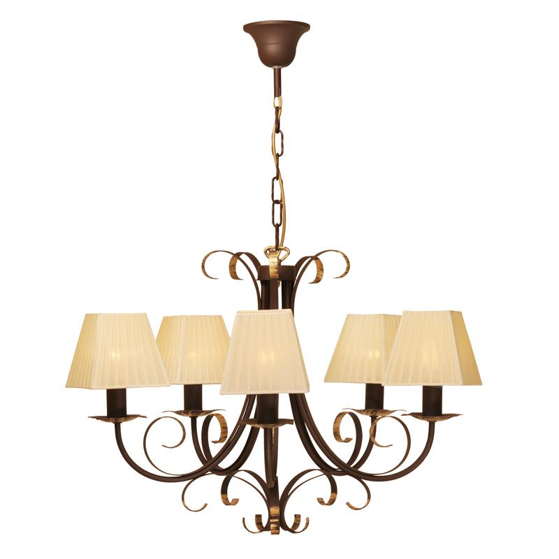 Люстра СЕВЕРНЫЙ СВЕТЛюстры<br>Назначение светильника: для комнаты,<br>Стиль светильника: классика,<br>Тип: подвесная,<br>Материал плафона: ткань,<br>Материал арматуры: металл,<br>Диаметр: 660,<br>Высота: 840,<br>Количество ламп: 5,<br>Тип лампы: накаливания,<br>Мощность: 60,<br>Патрон: Е14,<br>Цвет арматуры: медь,<br>Коллекция: полонез<br>