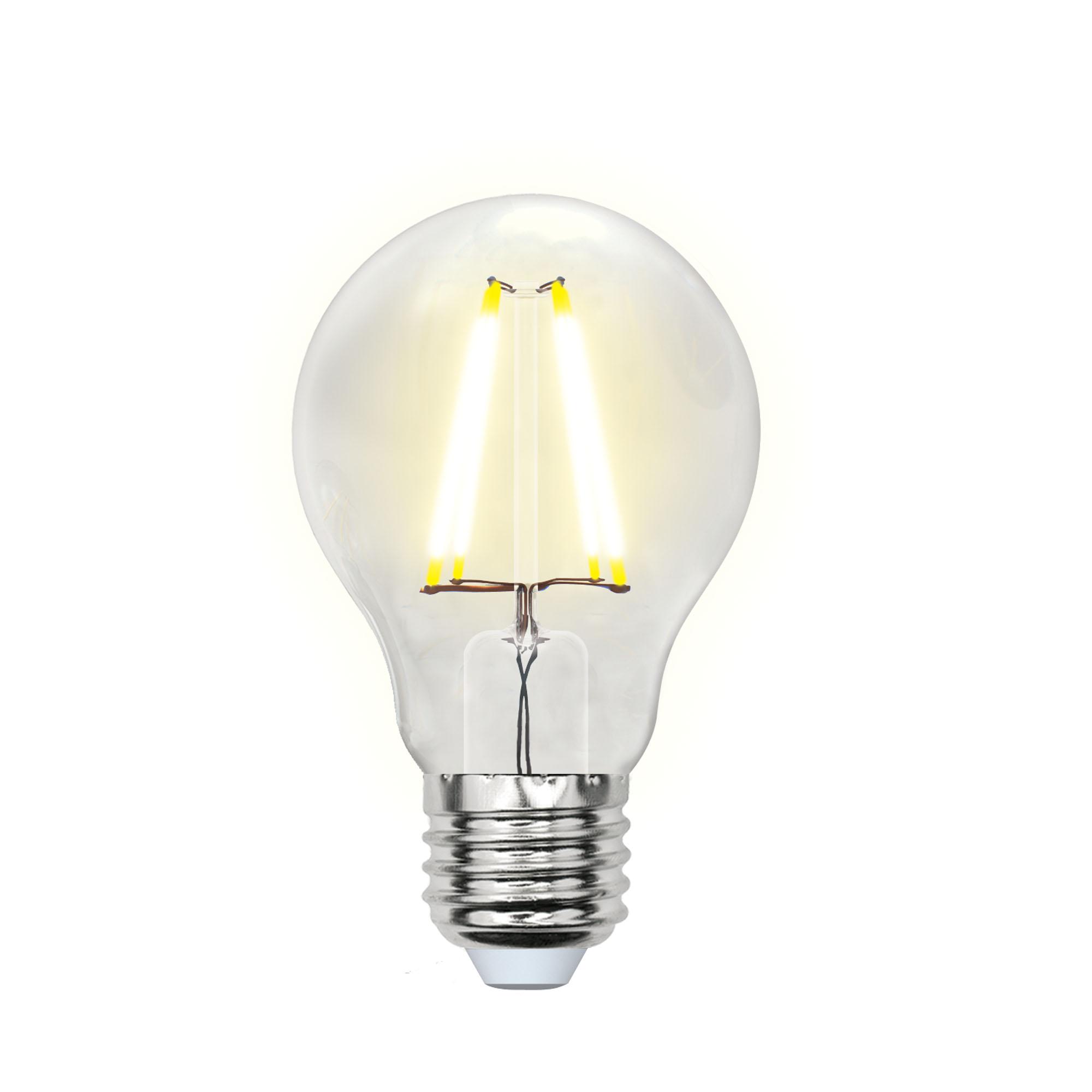 Лампа светодиодная UnielЛампы<br>Тип лампы: светодиодная,<br>Форма лампы: груша,<br>Цвет колбы: прозрачная,<br>Тип цоколя: Е27,<br>Напряжение: 200-250,<br>Мощность: 8,<br>Цветовая температура: 3000,<br>Цвет свечения: теплый,<br>Длина (мм): 102<br>