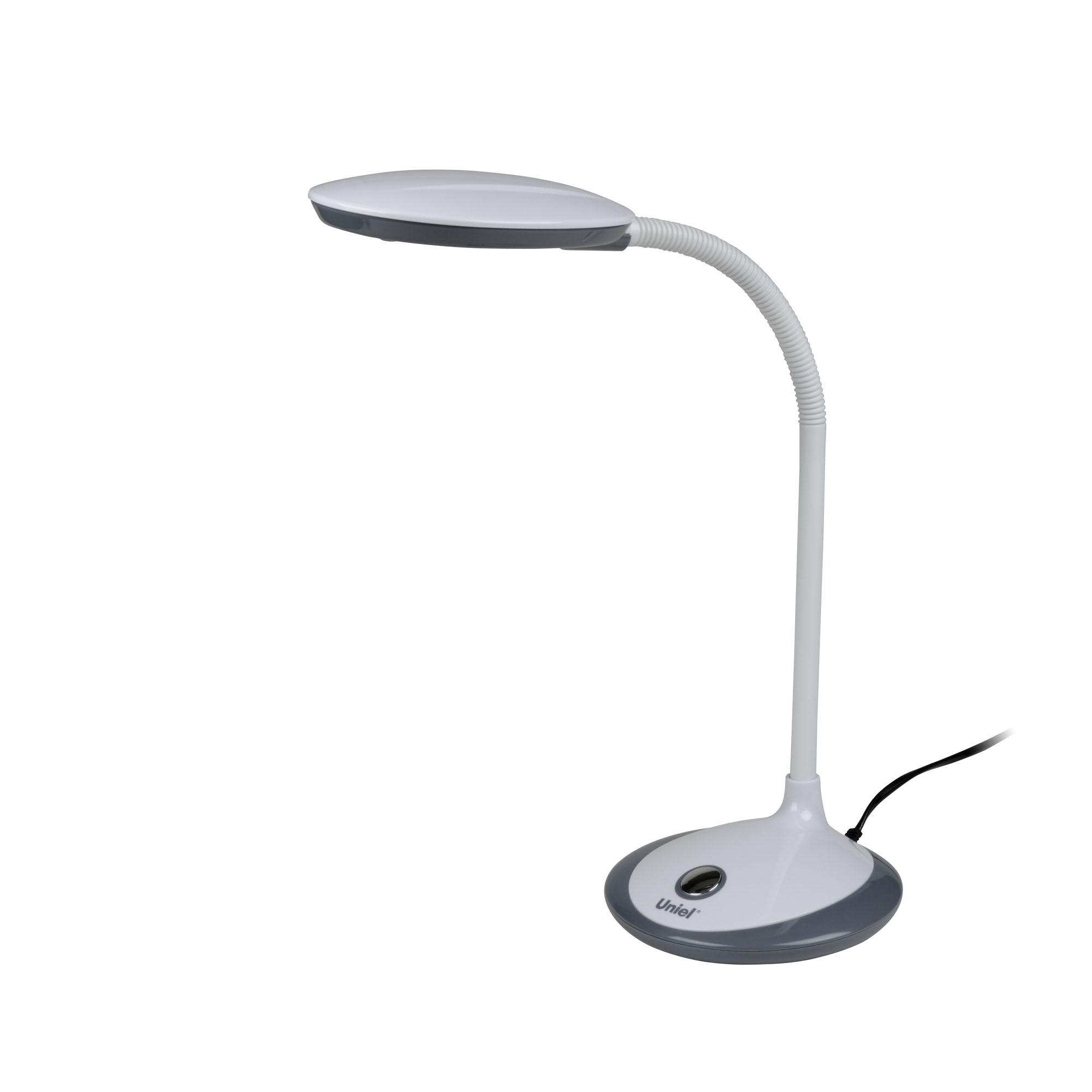Лампа настольная UnielЛампы настольные<br>Тип настольной лампы: ученическая/офисная, Назначение светильника: настольный, Стиль светильника: современный, Материал светильника: пластик, Количество ламп: 1, Тип лампы: светодиодная, Мощность: 4, Патрон: LED, Цвет арматуры: белый, Будильник: нет<br>